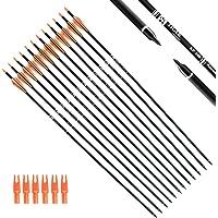 Tiger Archery - Lote de 12 Flechas de carbón de 76 cm para práctica de Caza con Puntas extraíbles para compuestos y Cuencos de recuperación