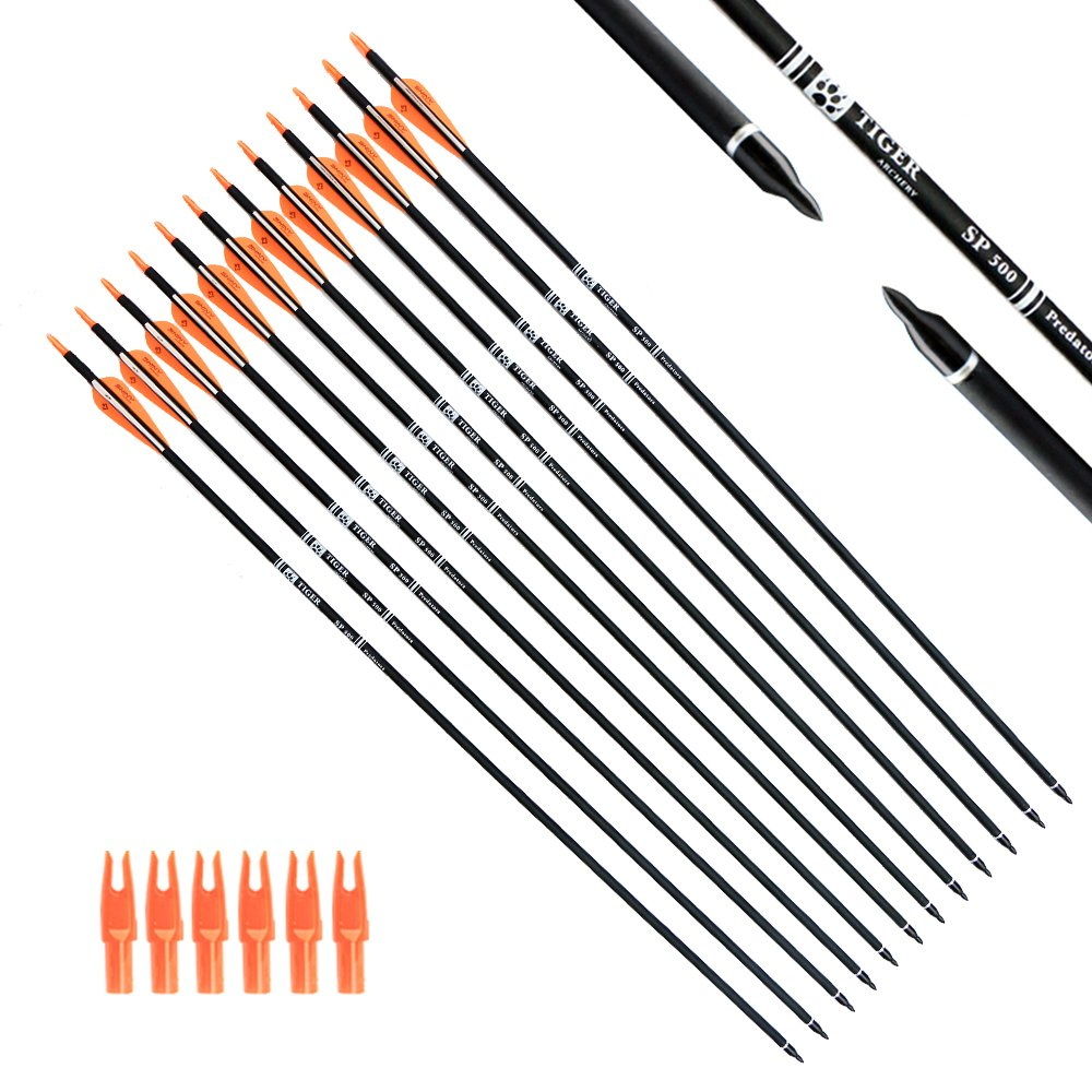 Tiger Archery 30Inch Carbon Arrow Practice Hunting Arrows with Removable Tips for Compound & Recurve Bow(Pack of 12) (Orange White) by Tiger Archery