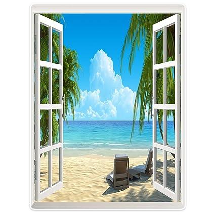yisumei Manta de techos suavemente franela suave manta colcha Windows Decoración playa palmera, poliéster,
