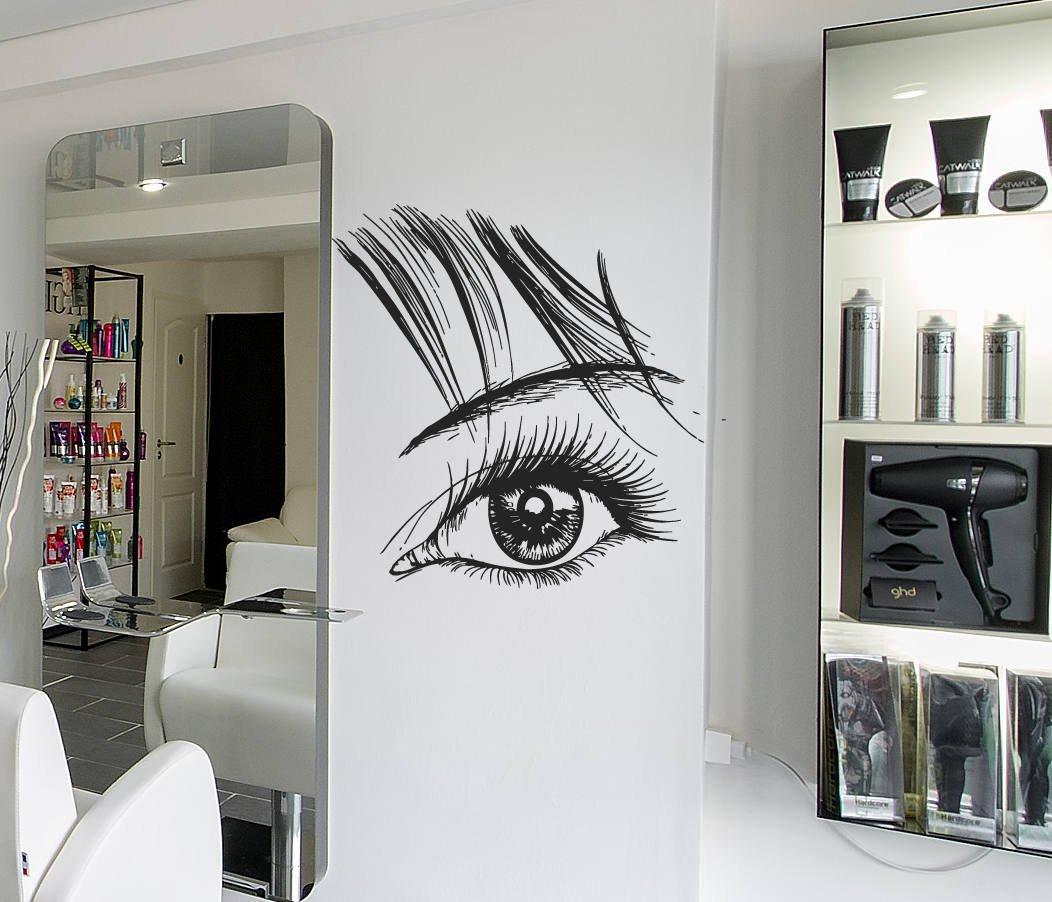 Amazon Com Girls Eyelashes Wall Decal Eyelashes Logo Wall Sticker Eye Eyebrows Wall Decor Beauty Salon Logo Decor Make Up Room Wall Decor Art Se122 Handmade