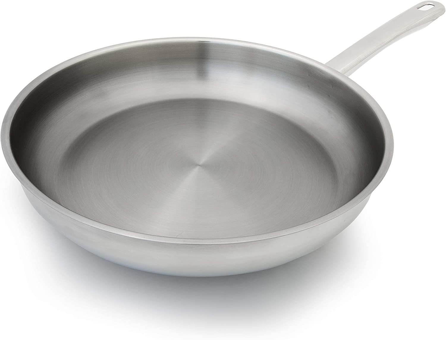 Hutch Kitchen | No Rivet Stainless Steel Skillet / Frying Pan | Durable 18/10 Stainless Steel | 9.5 Inch Pan| 3-PlyBonded | Induction-Friendly | Welded Cool To Touch Handle