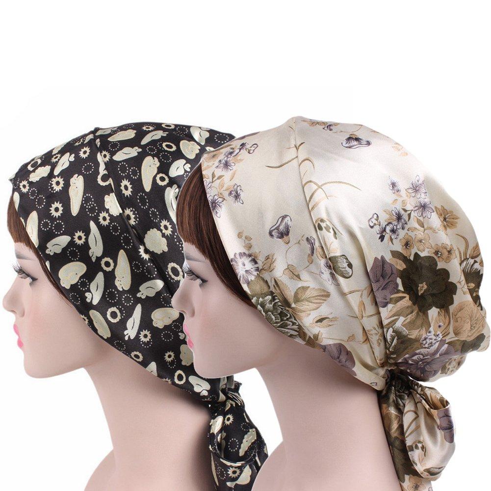 Chemo Headwear Turbans for Women Long Tie Satin Head Scarf Cancer Hat Cap (2 Pack Black+Beige Flower)