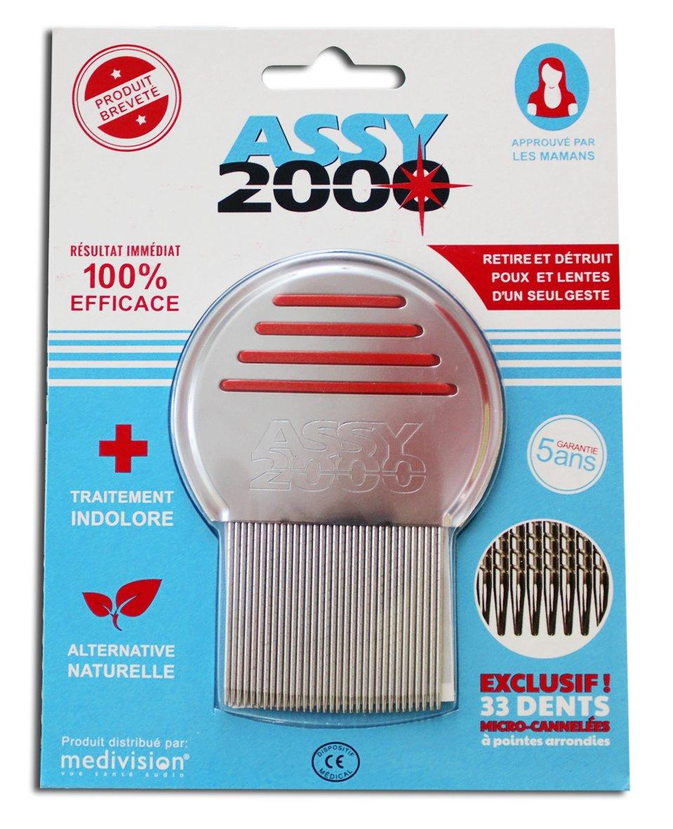 ASSY 2000–Peine antipulgas y antiliendres–en acero templado inoxidable con dientes microacanalados 3776A