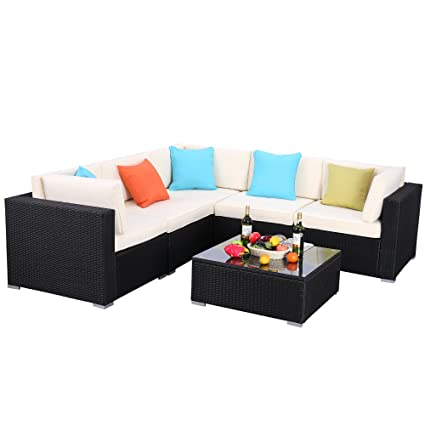 Do4U Patio Sofa 6-Piece Set Outdoor Furniture Sectional All-Weather Wicker Rattan Sofa Beige Seat & Back Cushions, Garden Lawn Pool Backyard Outdoor ...