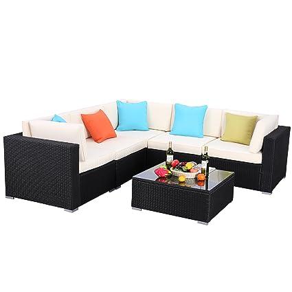 Do4U Patio Sofa 6-Piece Set Outdoor Furniture Sectional All-Weather Wicker Rattan Sofa Beige Seat & Back Cushions, Garden Lawn Pool Backyard Outdoor ...