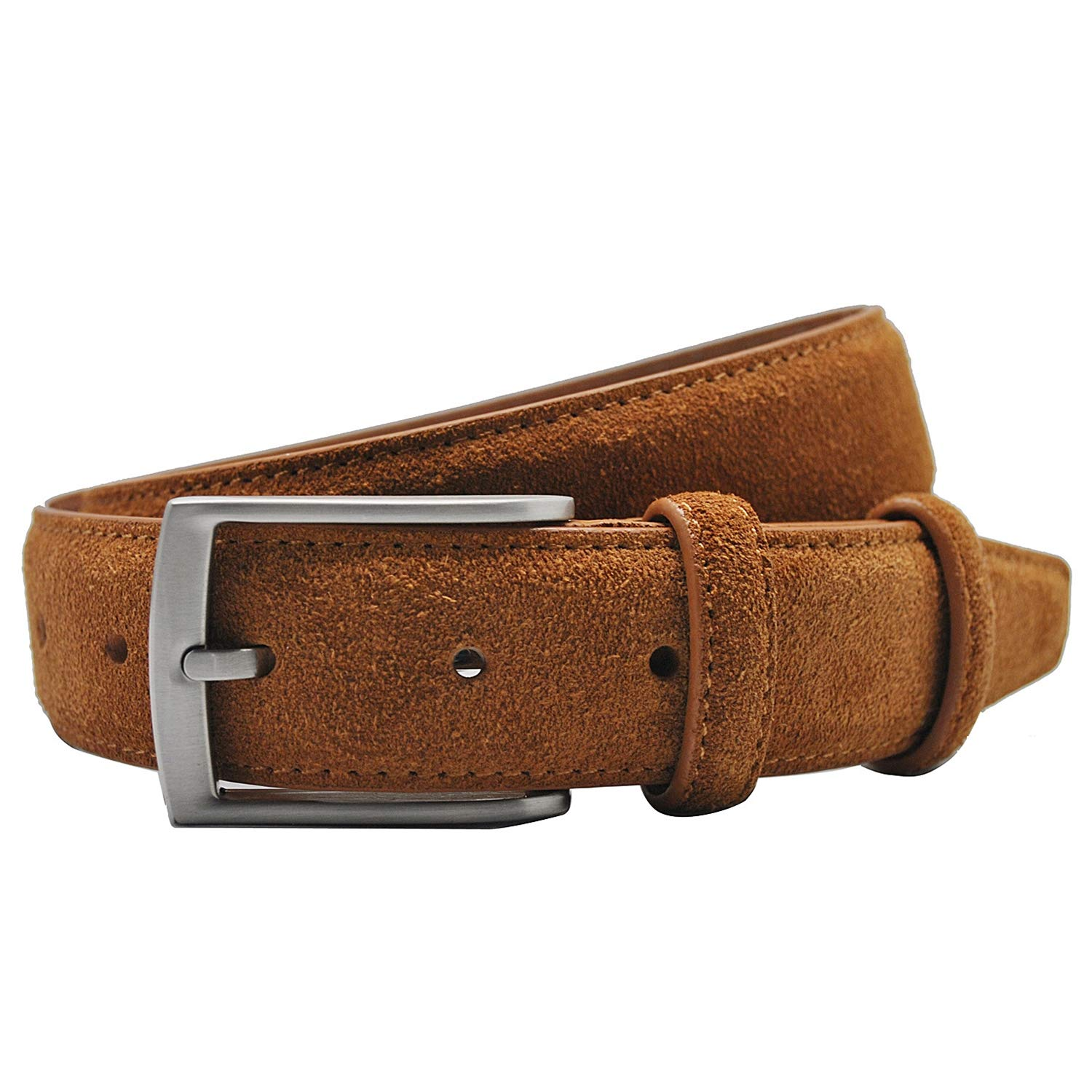 Mens Suede Leather Belt Casual Belts with Pin Buckle for Jeans Dress Pant