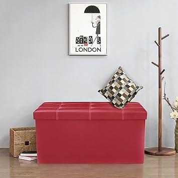 Double Large 2 Seater PVC Leather Ottoman Storage Folding Seat Stool Durable