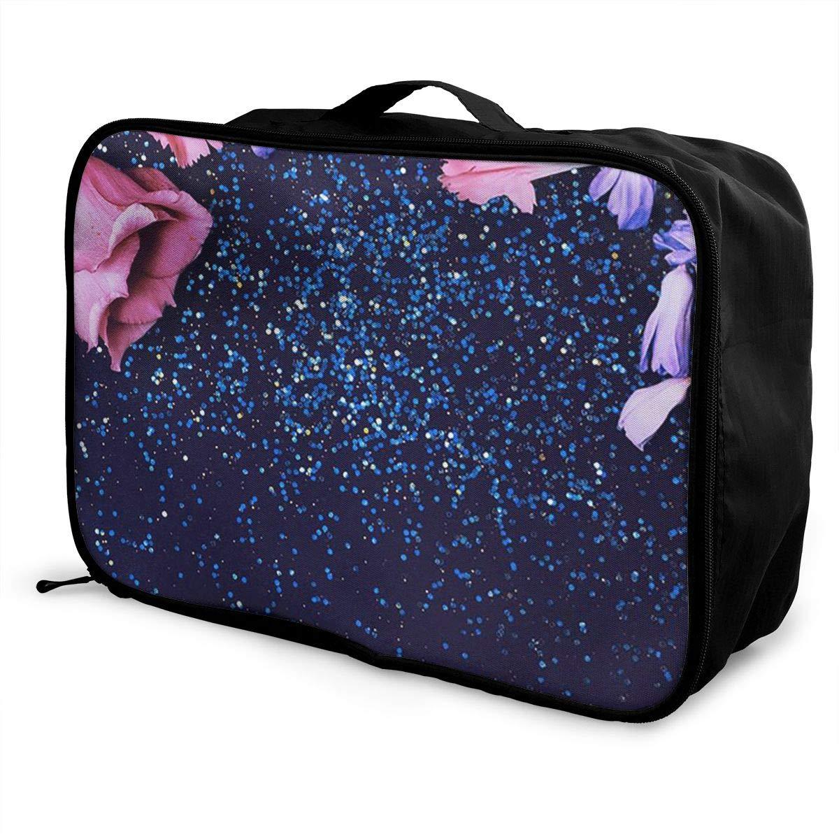 Travel Luggage Duffle Bag Lightweight Portable Handbag Pink Flower Pattern Large Capacity Waterproof Foldable Storage Tote