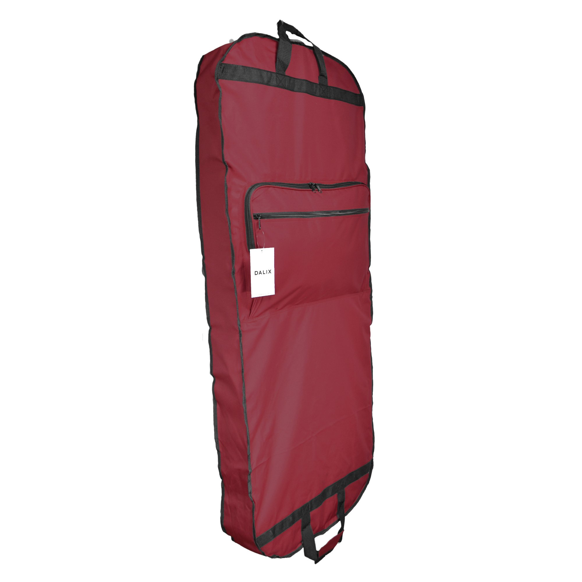 DALIX 60'' Professional Garment Bag Cover for Suits Pants & Gowns Dresses (Foldable) (Maroon)