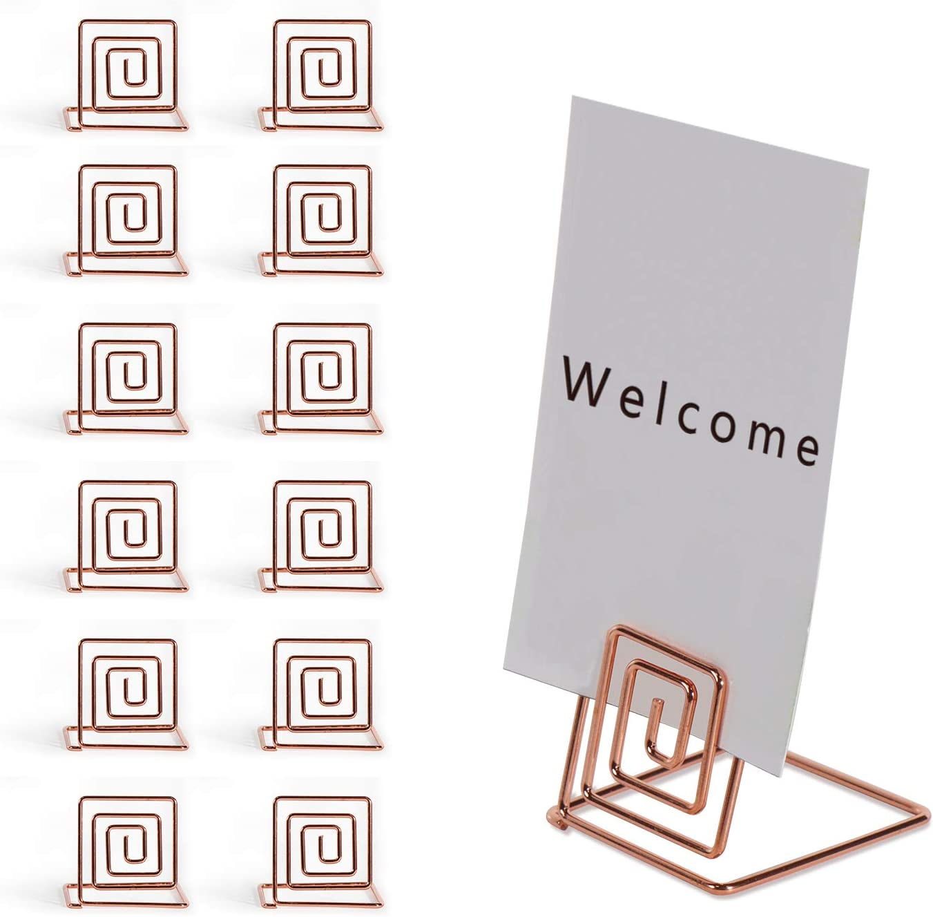 RALIS 12PCS Premium Place Card Holder-Rose Gold Metal Wire Square Table Stand Number Holder-Used for Photos-Food Signs-Memos-Weddings& Restaurants&Birthdays-Suitable for Party Table Decoration