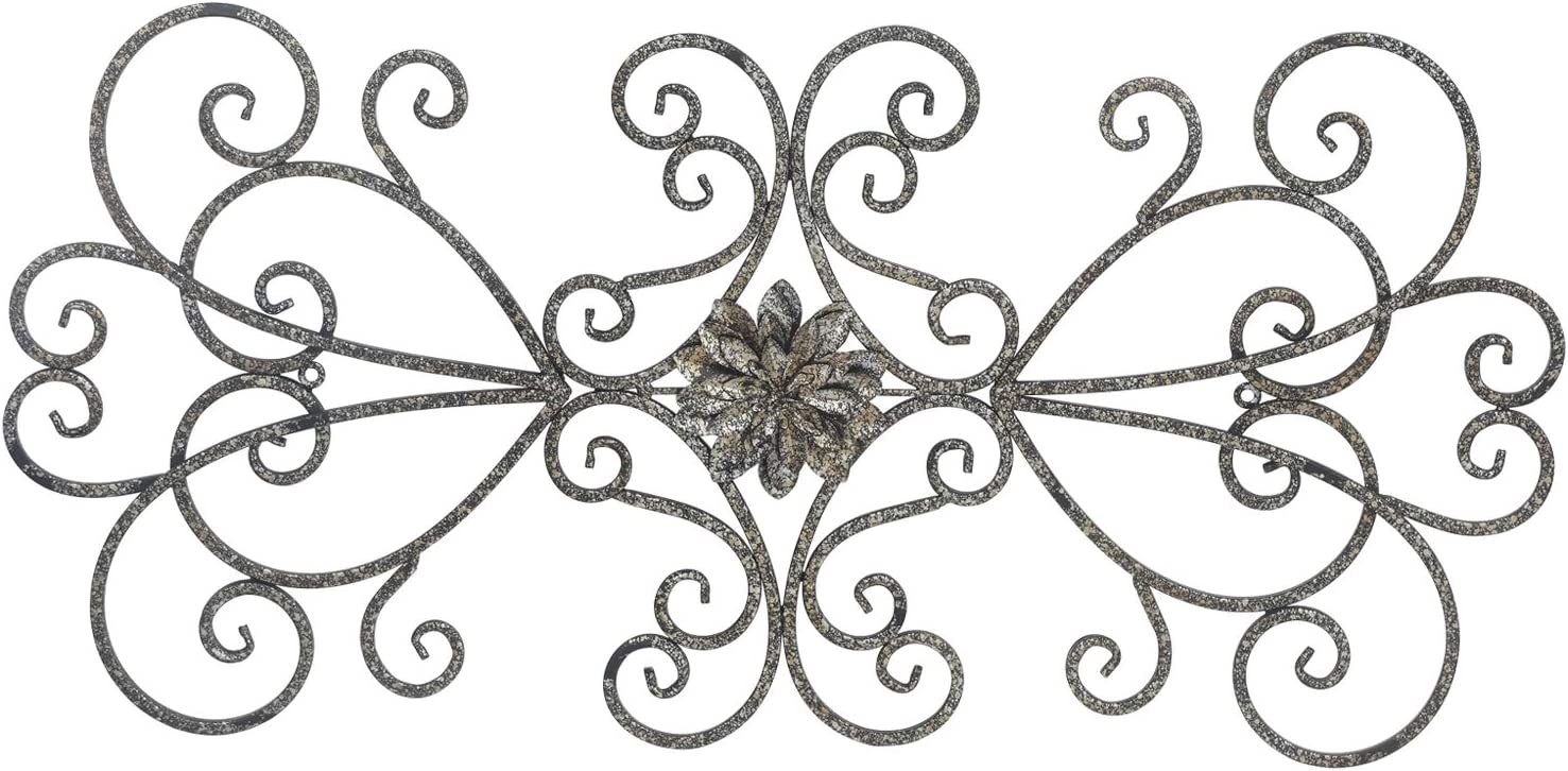 Adeco Metal Cast Iron Fleur De Li Crosses Wall Decor Large Scroll Wall Hanging Decoration for Home Indoor Outdoor 28.5 x 14 inch