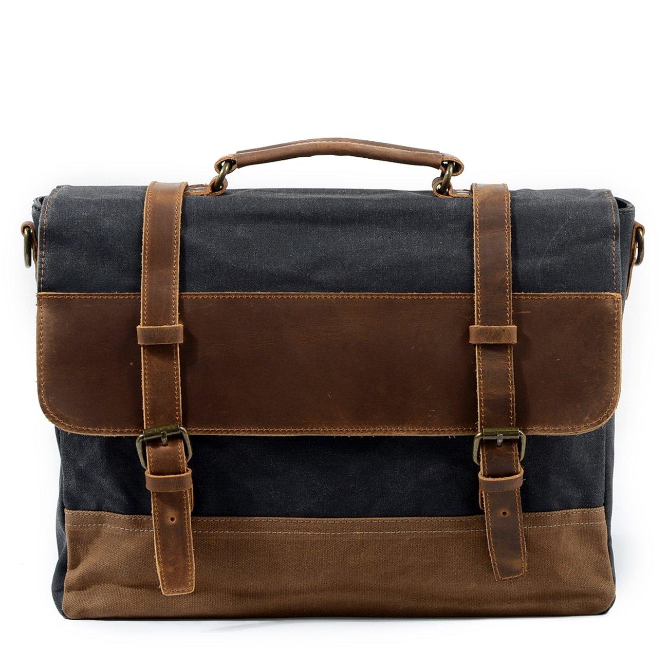 Mens Vintage Retro Genuine Leather Messenger Bag Waterproof Canvas Leather Computer Laptop Bag 15 Inch Briefcase Case (Dark Grey)