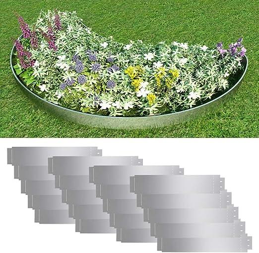 Tuduo Conjunto de Bordes para césped (20 pcs Acero galvanizado 100 x 20 cm, Grosor 0,7 mm Borde de jardín: Amazon.es: Jardín