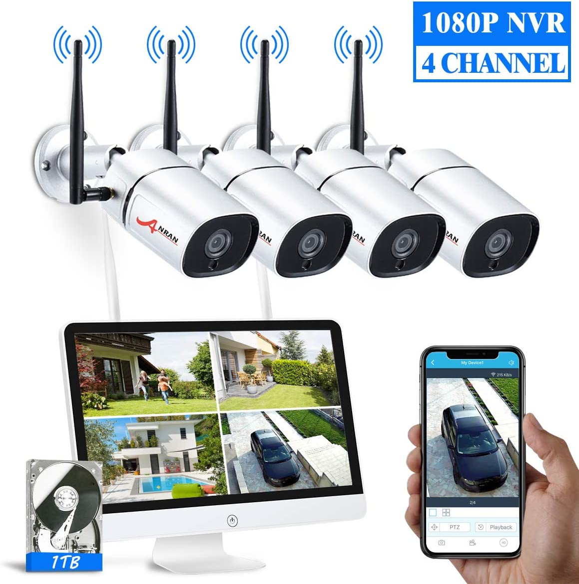 1080P Wireless Security Camera System Outdoor with 15.6 Inch LCD Monitor,ANRAN 4CH WiFi NVR Kits 4Pcs Outdoor Indoor IP Cameras with Night Vision,Remote View,1TB Hard Drive, Motion Detection