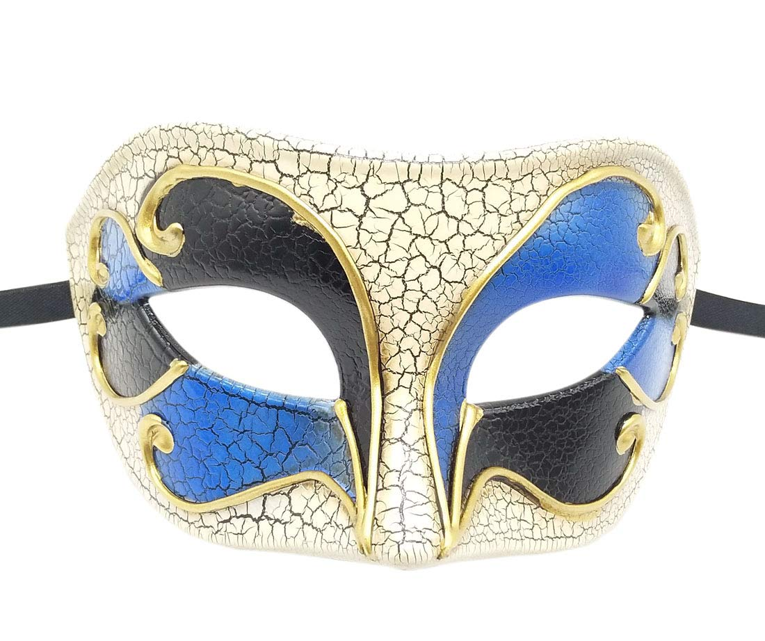 Men's Masquerade mask Musical Crack Vintage Venetian Halloween Mardi Gras Carnival Event Party Ball Prom (Royal Blue)