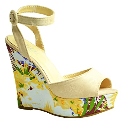 ada94a630465 CucuFashion New Womens Platforms Ladies High Heel Wedges Floral Print  Pattern Peep Toe Ankle Strap Shoes Size UK 3 4 5 6 7 8  Amazon.co.uk  Shoes    Bags