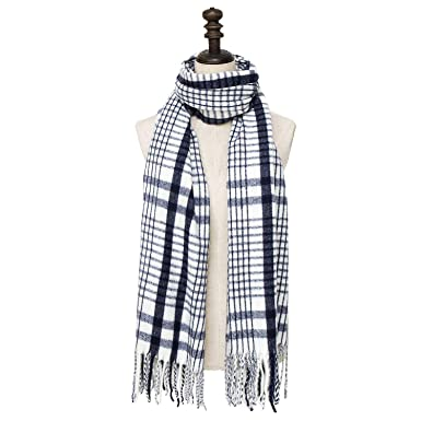 1baa84e15 PAGE ONE Womens Cashmere Wrap Shawl Stole Winter Thick Big Scarf Navy plaid