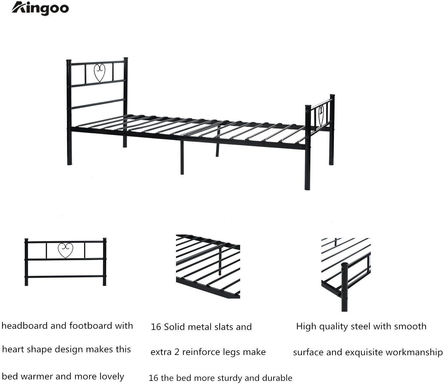 Aingoo Cama de Metal Estructura Cama Individual con somier y Cama de Metal con Listones 90/_x/_190/_cm