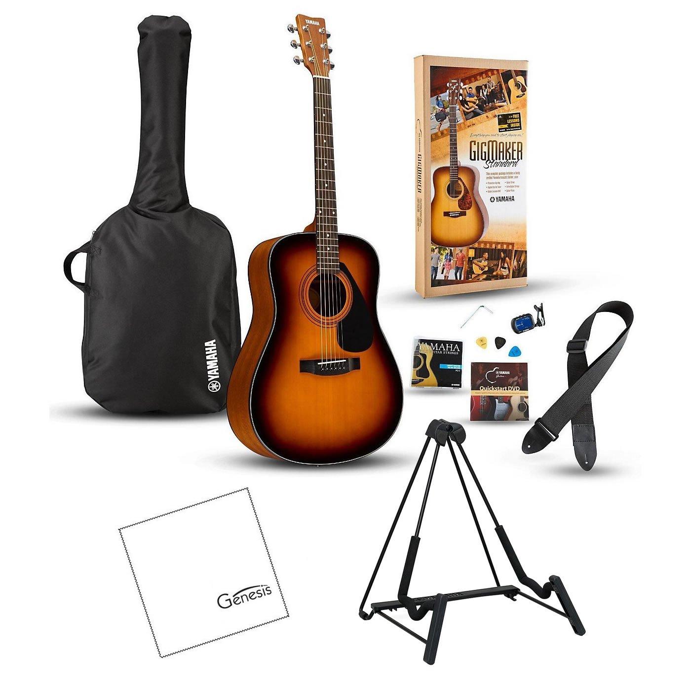 Yamaha GigMaker Standard Acoustic Guitar Package (Tobacco Sunburst) with FREE Bonus Guitar Stand & Polishing Cloth Yamaha Genesis