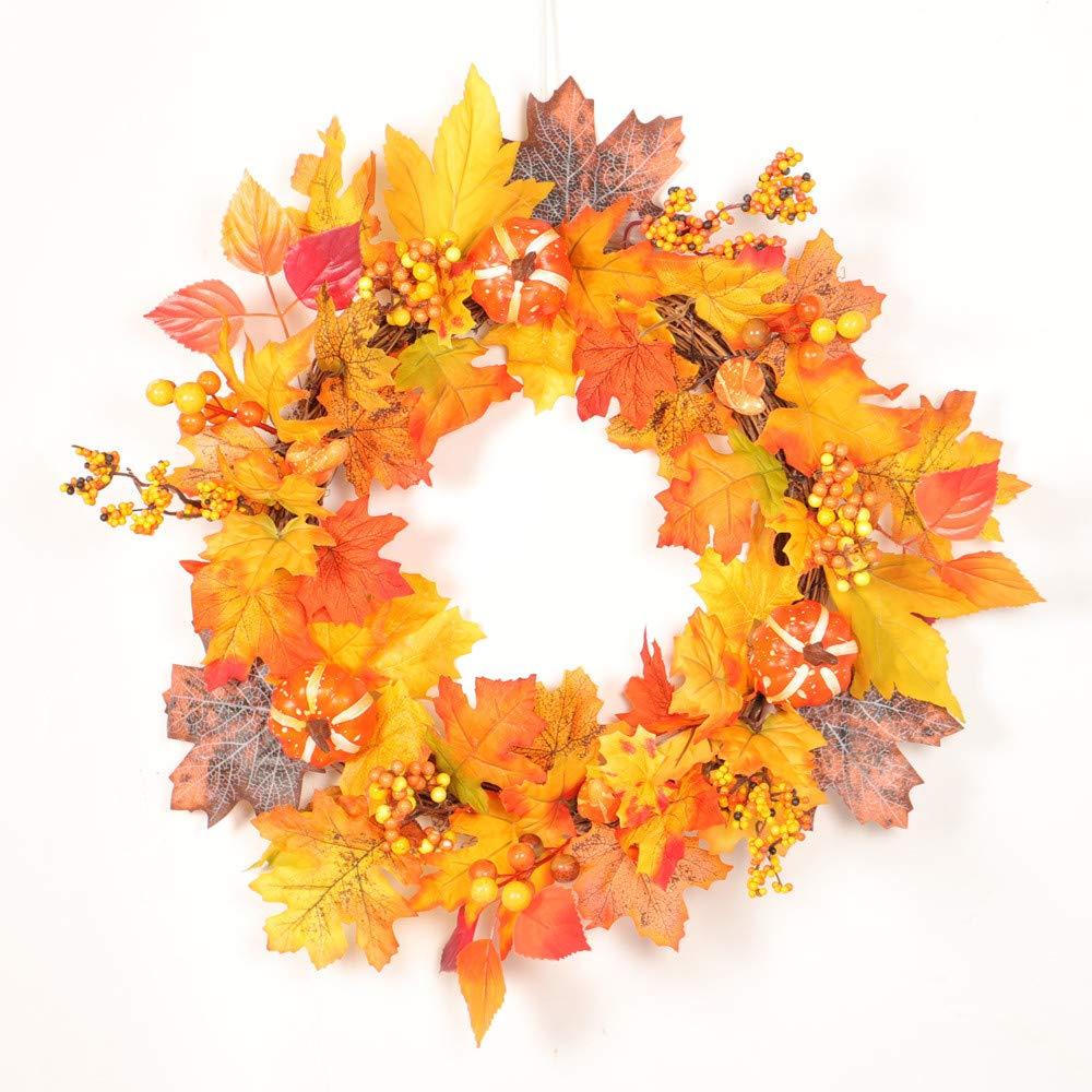 Thanksgiving Decor Christmas Wreath 50cm Rattan Pumpkin Berry Maple Leaf Fall Door Wall Garland