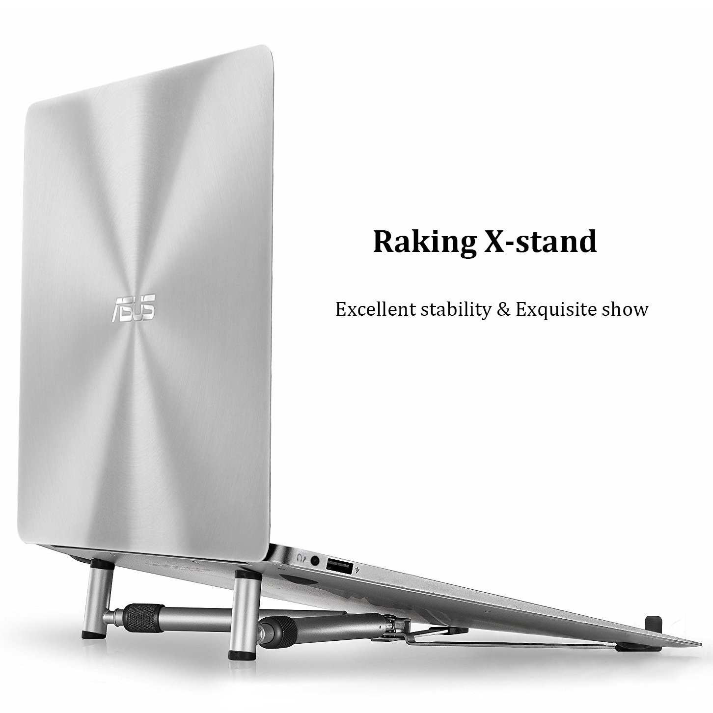 Raking Notebook Stand for MacBook and PC Laptop, Aluminium Adjustable/Portable, Cooling Universal Stand for All 12-17'' Laptop/Notebook Computers