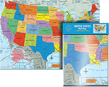 Amazon Com Ultimate Jumbo United States Wall Map Us Map Poster Usa 50 States 40 X 28 Including All Main Cities Office Products