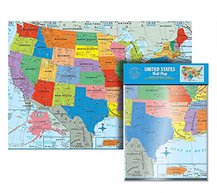 Amazoncom Ultimate Jumbo United States Wall Map Us Map Poster - Us-map-with-states-and-cities