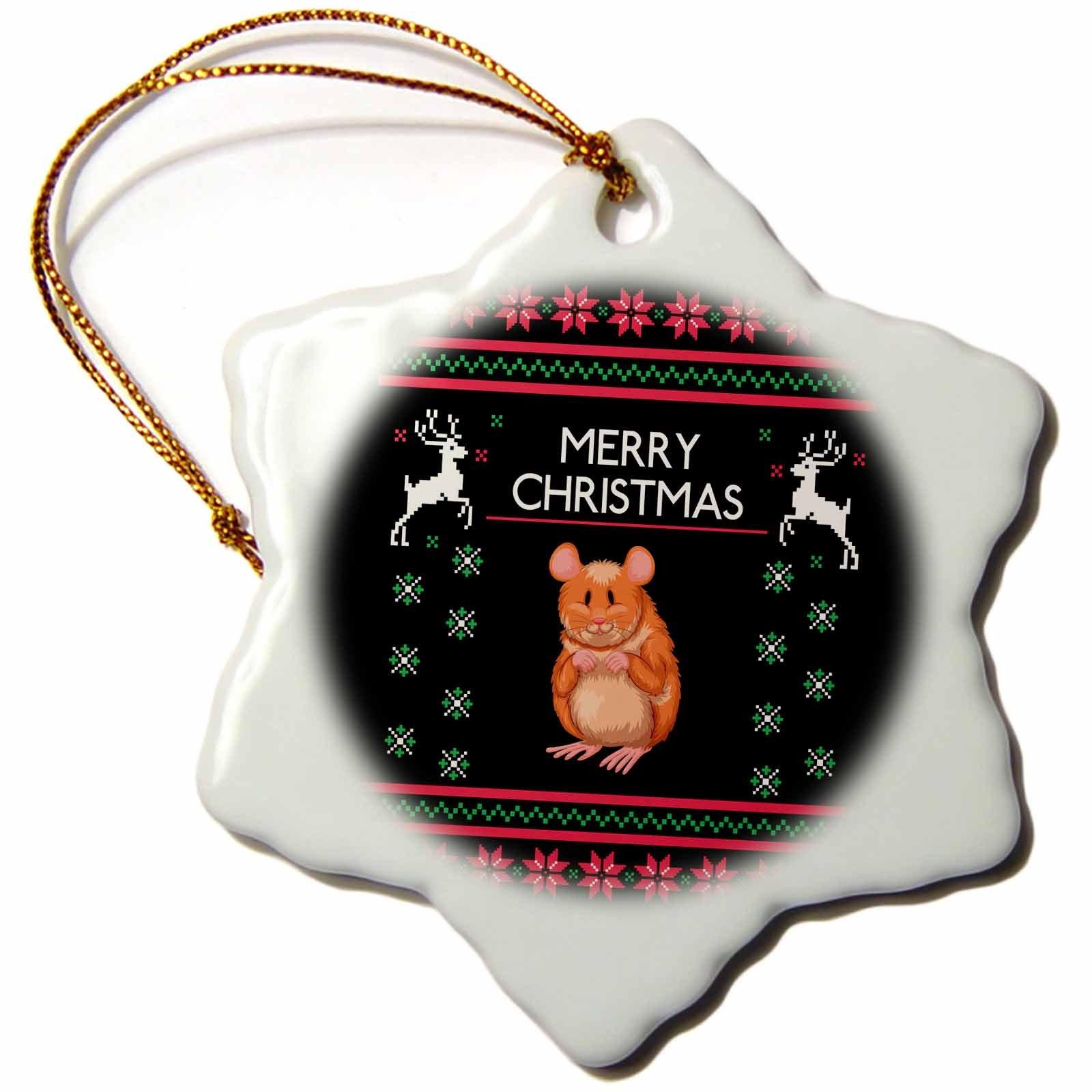 3dRose Hamster Animal with Merry Christmas Celebration Deer Snowflake Ornament, 3''