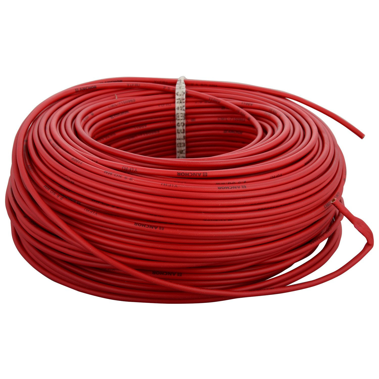 Anchor Insulated Copper Pvc Cable 25 Sq Mm Wire Red Flat Electrical Quality For Sale