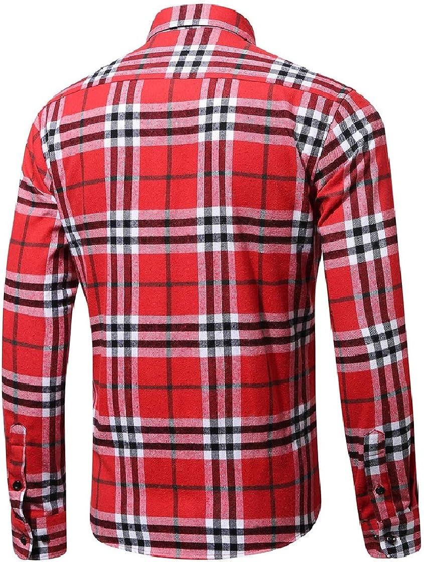 YUNY Mens Premium Flannel Spring//Fall Plaid Pattern Fit Lapel Shirt AS6 XL