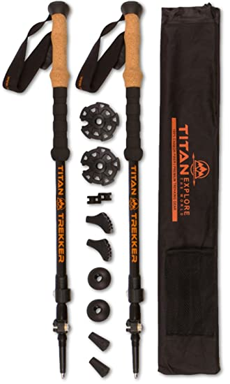 Titan Trekking Poles   100% Carbon Fiber, Ultra Lightweight, Shock  Absorbent And Collapsible
