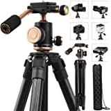 """Camera Tripods, YoTilon 49"""" Lightweight Portable Adjustable Compact Travel Camera Stand With Quick Release Plate, 360°Panorama Ball Head, Carry Bag for SLR/DSLR Camera, Canon Nikon"""