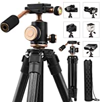 """Camera Tripods, YoTilon 49"""" Lightweight Portable Adjustable Compact Travel Camera Stand With Quick Release Plate, 1/4'' Screw, 360°Panorama Ball Head , Carry Bag for DSLR Camera, SLR/DSLR Canon Nikon Sony Olympus DV Video (Black)"""