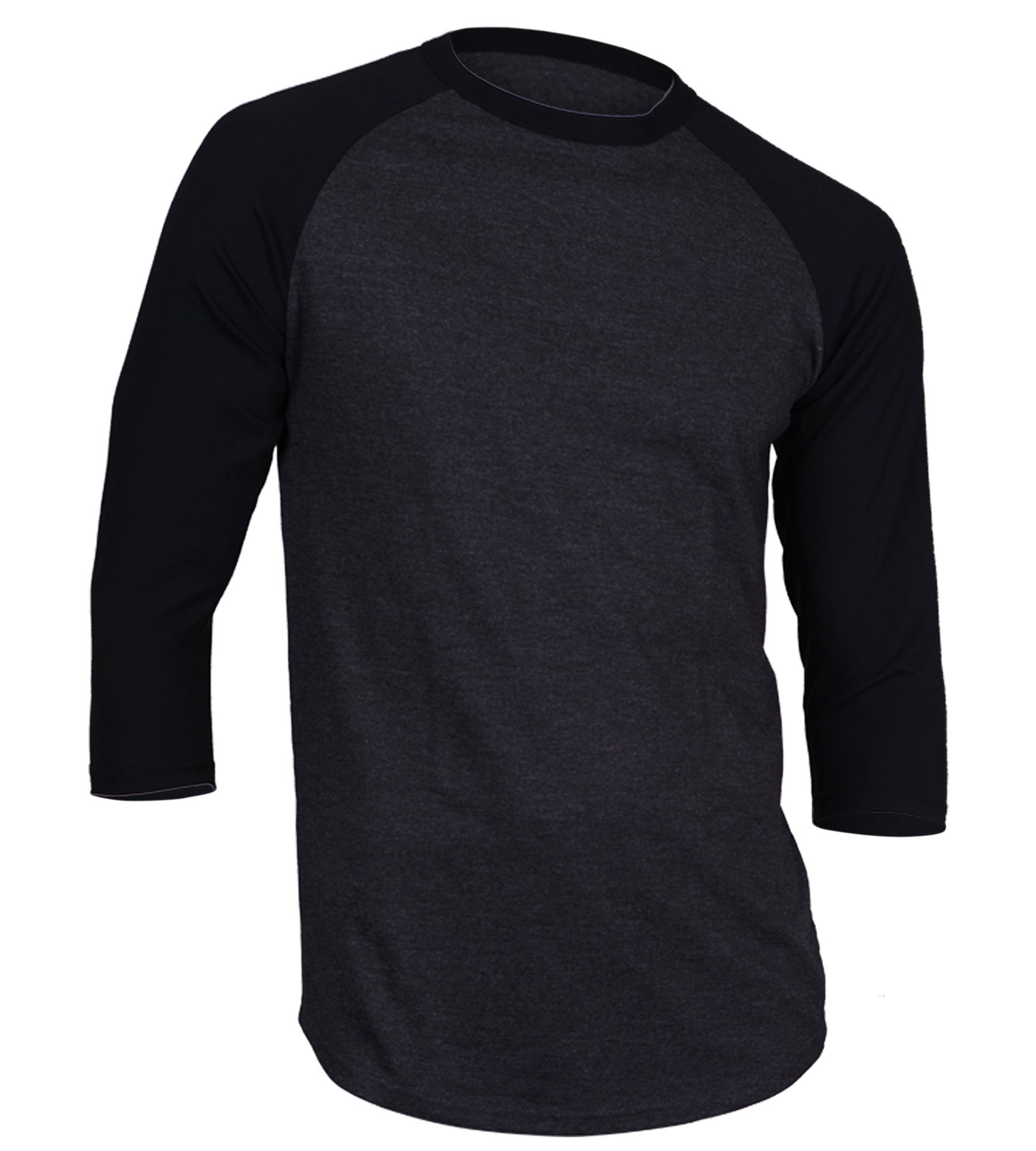 Dream USA Men's Casual 3/4 Sleeve Baseball Tshirt Raglan Jersey Shirt C Gray/Black Large