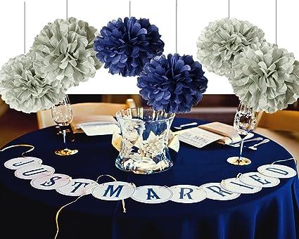 Navy Blue Wedding.Furuix Bridal Shower Decorations 8pcs Grey Mixed Navy Blue Tissue Paper Pom Pom Tissue Paper Pompoms Flower Ball Birthday Decorations Wedding Party