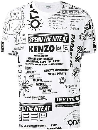 9890520b9 Kenzo Men's F755ts0184sd01 White Cotton T-Shirt: Amazon.co.uk: Clothing