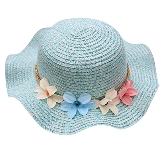 Sombrero Respirable De La Flor del Bebé del Verano AIMEE7 Sombrero del Sol  De La Paja 0ce543ef75b