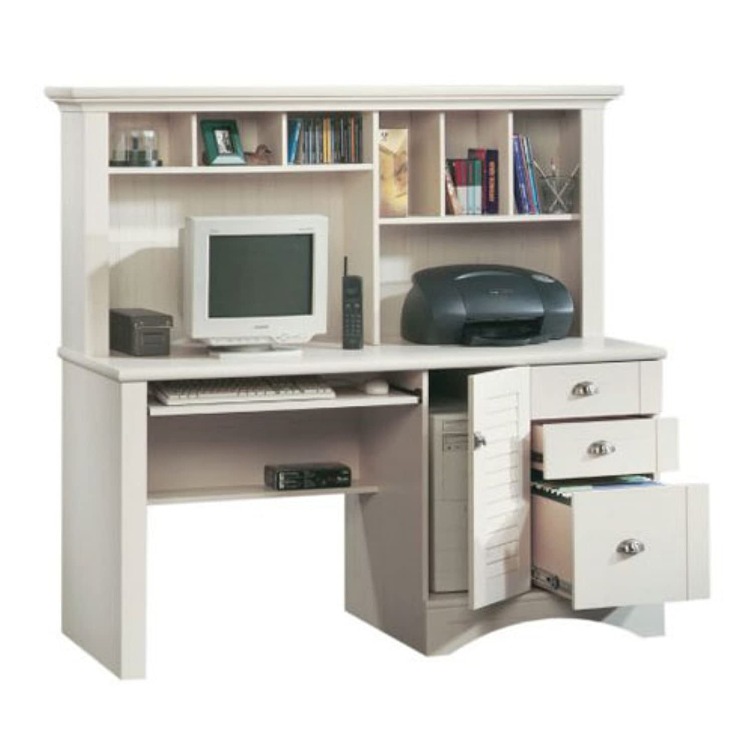 Amazon.com: Sauder Harbor View Computer Desk with Hutch, Antiqued White:  Kitchen & Dining - Amazon.com: Sauder Harbor View Computer Desk With Hutch, Antiqued