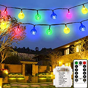 LiyuanQ LED Globe String Lights, 8 Modes 60 Crystal Balls Battery Operated String Lights with Remote Timer, 33 Feet Waterproof Indoor String Lights Home Wedding Birthday Party Decor (Multi Color)