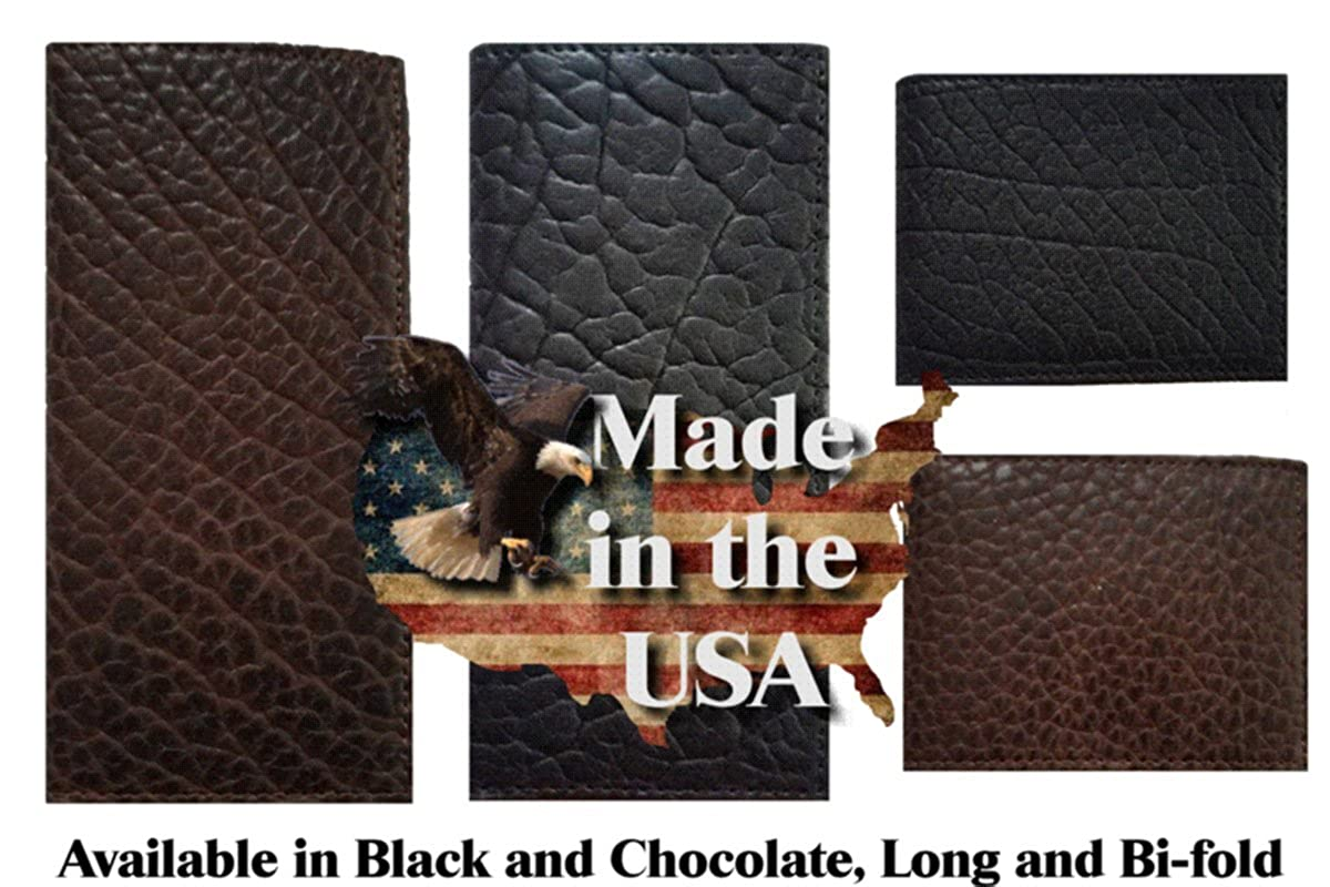 Proudly made in the USA. Custom Large Texas Mason Concho on a Rugged American Buffalo Chocolate Brown Leather Flip ID Bi-fold Wallet