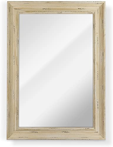 Raphael Rozen , Elegant, Modern, Classic, Vintage, Rustic, Hanging Framed Wall Mounted Mirror, Natural Distressed Wood Ivory Finish 34×44