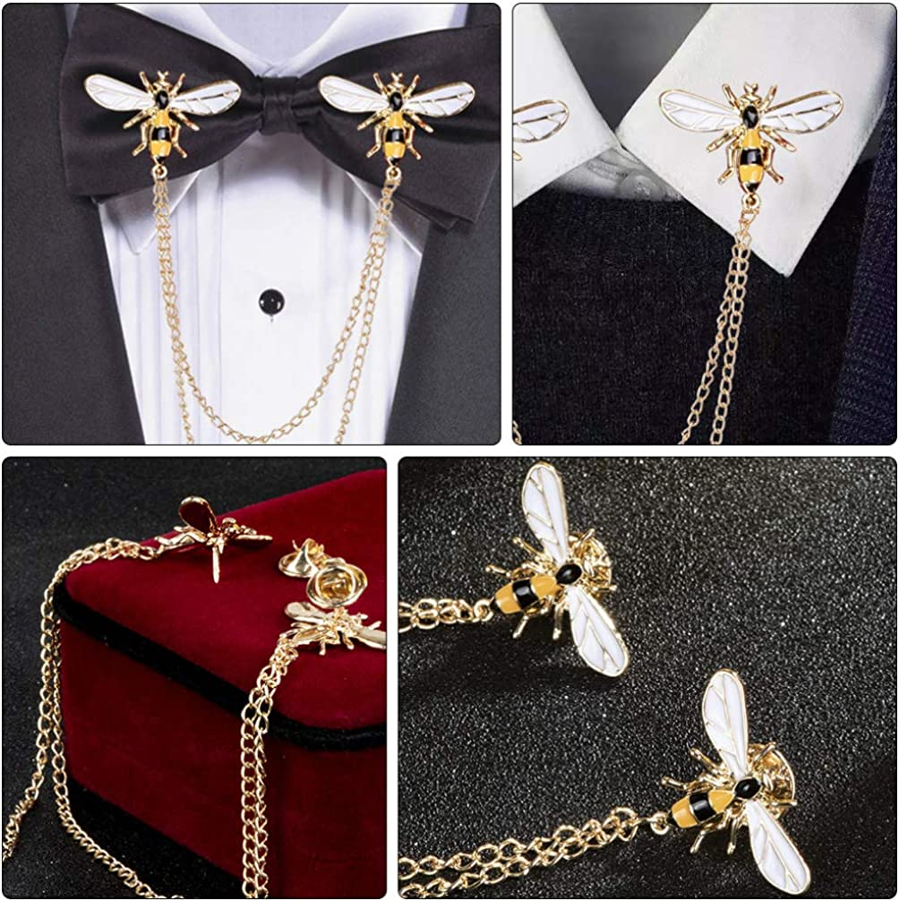 Happyyami Bee Collar Pins Chain with Tassel Suit Shirts Collar Brooch Pin Enamel Pins Clips Alloy Lapel Pins for Men Women