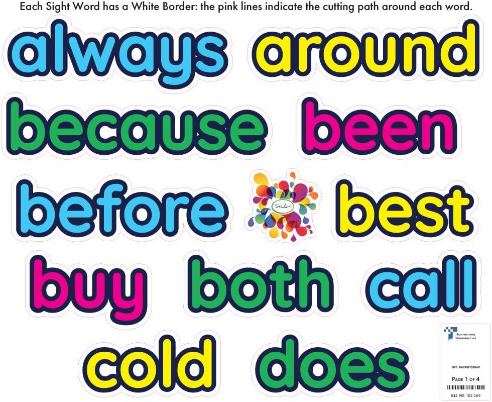 StikArt 52 Dolch Sight Words Wall Decals Kindergarten List