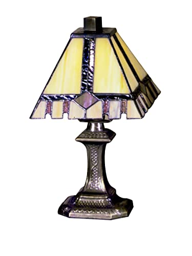 Dale Tiffany TA100351 Castle Cut Mini Table Lamp, Antique Bronze and Art Glass Shade