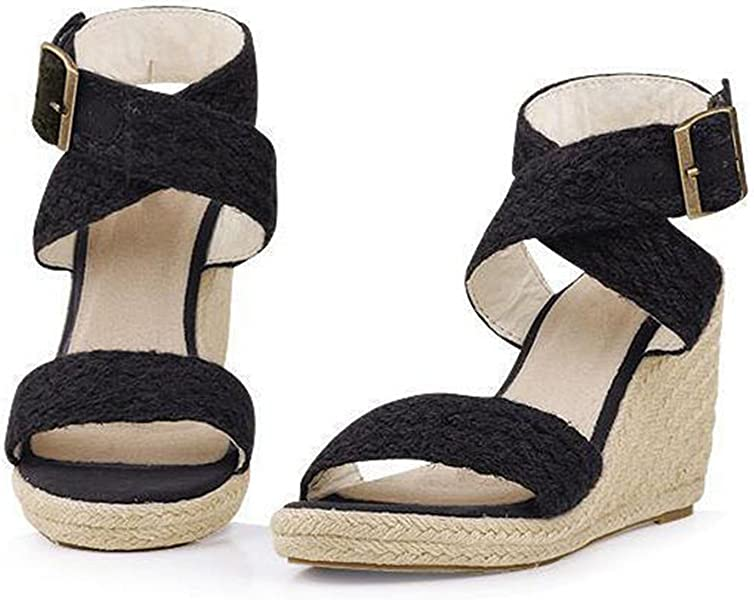 b9c52445ee NeeKer Shoes Gladiator Sandals Fashion Cross Strap Bukle Straw Brand Wedge  Sandals Women High Heels Bohemia