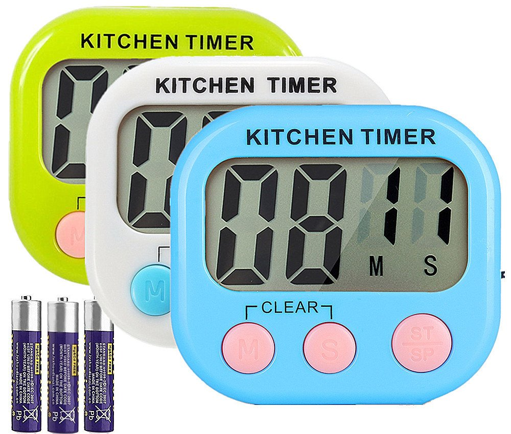 Great Polly 3 Pack Digital Kitchen Timer Cooking Timers Clock with Alarm Magnetic Back and Stand, Minute Second Count Up Countdown, Large LCD Display Batteries Included GPHX103