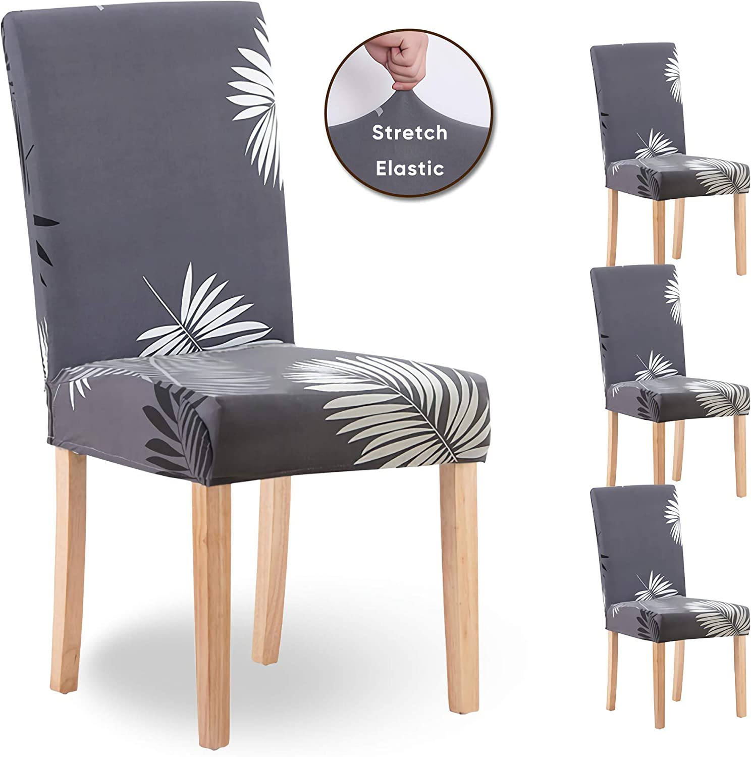 Amazon Com Dining Chair Covers Set Of 4 For Living Room Slip Covers For Furniture Chair Stretch Dining Room Chair Seat Covers For Home Office Desk 4 Pcs Grey Feather Leaf Kitchen Dining