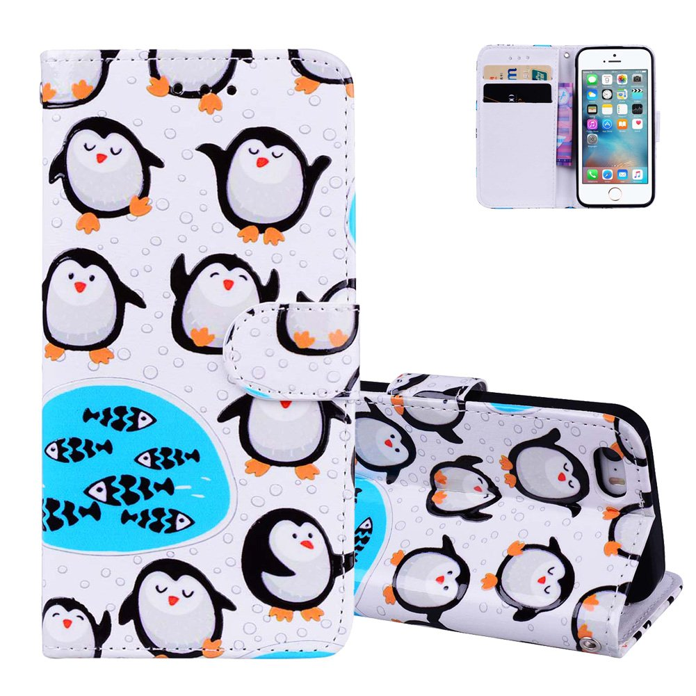 Aeeque® Original Etui Portable iPhone 5S Blanc et Noir Chat Cute Motif Flip Pochette Etui en Cuir Souple Anti Choc Anti-rayure Housse de Protection avec Porte Carte Slot et Fonction Support Smart Cover pour iPhone 5/5S/SE NEAEB029939