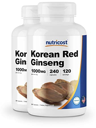 Nutricost Korean Ginseng 500mg, 240 Capsules 2 Bottles – 1000mg Extra Strength Serving Size – Gluten Free Non-GMO