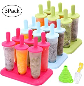 BAKHUK 3 Sets Reusable Ice Pop Molds Popsicle Maker with Funnel and Brush, 3 Colors